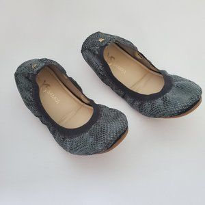 Yosi Samra Dark Green Snake Foldable Ballet Flats